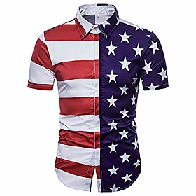 men's american flag 4th of july independence patriotic short sleeve shirt (large)