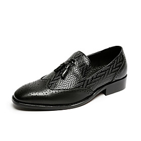 Men's Loafers  Slip-Ons Casual Daily PU Wear Proof Black Spring / Fall / Square Toe
