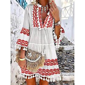 Women's A-Line Dress Short Mini Dress - 3/4 Length Sleeve Geometric Lace Tassel Fringe Print Summer Boho Holiday Slim 2020 Red S M L XL XXL 3XL 4XL 5XL