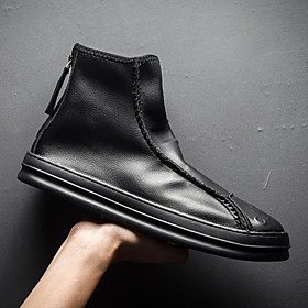 Men's Boots Casual Daily PU Booties / Ankle Boots White / Black Fall
