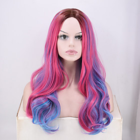 Synthetic Wig Curly Deep Wave Middle Part Wig Long PinkRed Synthetic Hair Women's Fashionable Design Soft Party Pink
