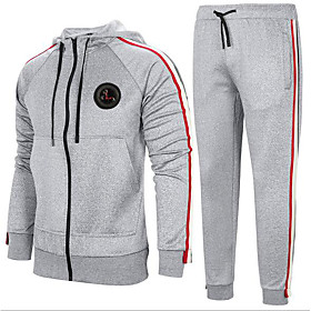 Men's Activewear Set Print Basic Hoodies Sweatshirts  Light gray