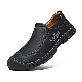 Men's Loafers  Slip-Ons Casual Daily Outdoor Walking Shoes Faux Leather Handmade Wear Proof Black / Khaki / Brown Spring / Fall