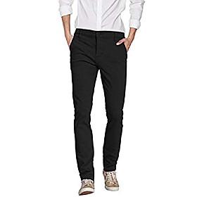 Men's Ceremony Formal Skinny Chinos Pants Solid Color Summer Fall claret ArmyGreen Black 36 38 28