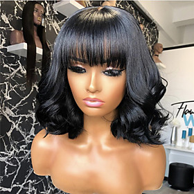 Synthetic Wig Curly With Bangs Wig Short Natural Black Synthetic Hair 14 inch Women's Classic Exquisite Fluffy Black