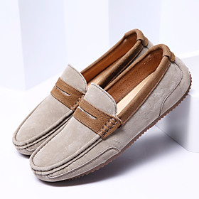 Men's Loafers  Slip-Ons Business / Classic / Casual Daily Office  Career Walking Shoes Nappa Leather Breathable Non-slipping Wear Proof Black / Khaki / Gray Sp
