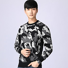 Men's Basic Knitted Leopard Pullover Long Sleeve Sweater Cardigans Crew Neck Fall Winter Black Red