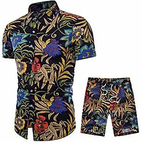 men's 2 piece tracksuit floral hawaiian shirt short sleeve shirts and shorts