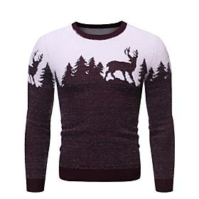 Men's Christmas Geometric Animal Pullover Long Sleeve Sweater Cardigans Crew Neck Winter Black Red Navy Blue