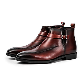 Men's Boots Work Boots Business / Vintage / British Party  Evening Office  Career Leather Warm Non-slipping Shock Absorbing Wine / Black Winter