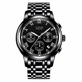 men's watches luxury fashion dress chronograph waterproof military quartz watch for men stainless steel black wristwatches