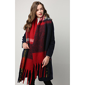 Women's Tassel / Active Rectangle Scarf - Striped / Color Block Washable