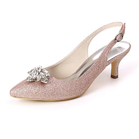 Women's Wedding Shoes Kitten Heel Pointed Toe Sweet Wedding Party  Evening Rhinestone Solid Colored Gleit White / Light Purple / Champagne