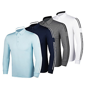 Men's 1 Piece Golf Polo Shirts Solid Color Stripes UV Sun Protection Breathable Quick Dry Autumn / Fall Spring Winter Sports Outdoor / Cotton / Long Sleeve / S