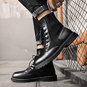 Men's Boots Work Boots Classic / Casual / British Daily Party  Evening Walking Shoes Tissage Volant Breathable Non-slipping Shock Absorbing Mid-Calf Boots Blac
