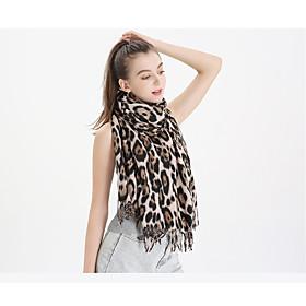 Women's Tassel Rectangle Scarf - Leopard Washable