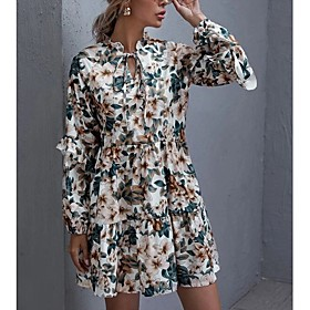 Women's A-Line Dress Short Mini Dress - Long Sleeve Print Ruffle Patchwork Print Fall V Neck Casual Loose 2020 Green S M L XL