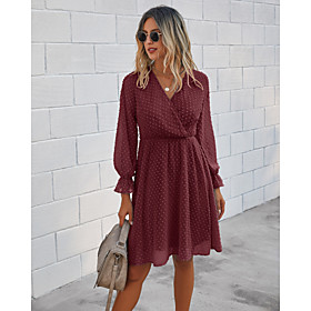 Women's A-Line Dress Knee Length Dress - Long Sleeve Solid Color Clothing Fall V Neck Casual Flare Cuff Sleeve 2020 Black Blue Wine Army Green S M L XL