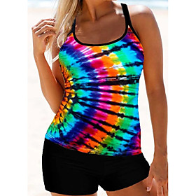 Women's Two Piece Online Canada Tankini Swimsuit Criss Cross Rainbow Scoop Neck Swimwear Bathing Suits Rainbow / Padless