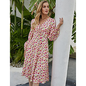 Women's A-Line Dress Knee Length Dress - Long Sleeve Floral Print Fall Winter V Neck Casual Going out Lantern Sleeve Chiffon 2020 Blushing Pink S M L XL