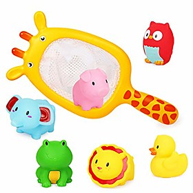 baby bath toys, scoop net fish pool toys with spray, sounds, color changing toddler bathtub toys Package Dimensions:29.223.45.9; Listing Date:09/17/2020