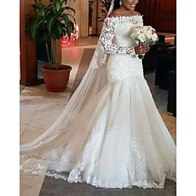 A-Line Wedding Dresses Off Shoulder Court Train Lace Tulle Long Sleeve Formal with 2020