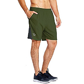 men's 7'' athletic running shorts quick dry mesh liner zip pocket army green size xl tall