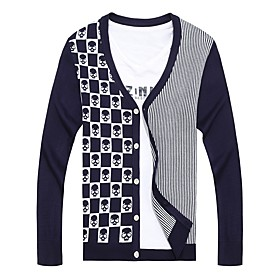 Men's Basic Knitted Color Block Cardigan Long Sleeve Sweater Cardigans V Neck Spring Fall Black Blue