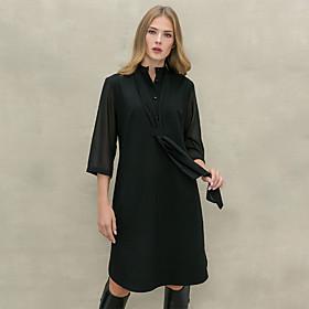 Women's A-Line Dress Knee Length Dress - Half Sleeve Solid Color Patchwork Button Fall Shirt Collar Elegant Loose 2020 Black S M L XL XXL