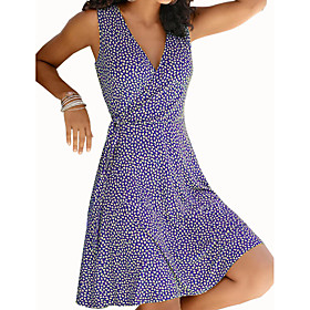 Women's A-Line Dress Knee Length Dress - Sleeveless Print Print Summer V Neck Casual Hot 2020 Black Blue Purple Yellow Wine Green S M L XL XXL 3XL 4XL 5XL