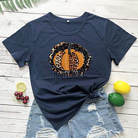 Women's Halloween T-shirt Leopard Graphic Prints Cheetah Print Print Round Neck Tops 100% Cotton Basic Halloween Basic Top White Wine Light gray