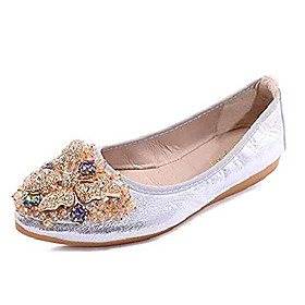 women's wedding flats rhinestone slip on foldable ballet shoes 7 sliver
