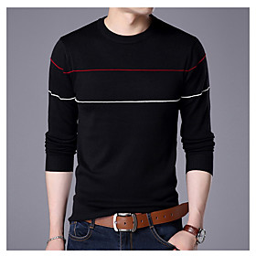 Men's Basic Knitted Color Block Pullover Long Sleeve Sweater Cardigans Crew Neck Spring Fall White Black Wine