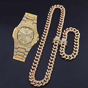 Men's Steel Band Watches Quartz Modern Style Stylish Luxury Calendar / date / day Analog Gold Silver / Titanium Alloy