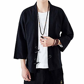 men's kimono jackets cardigan lightweight casual cotton blends linen seven sleeves open front coat outwear