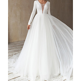 A-Line Wedding Dresses V Neck Court Train Satin Tulle Long Sleeve Simple with Beading 2020