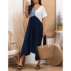 Women's A-Line Dress Midi Dress - Short Sleeve Color Block Color Block Spring  Summer V Neck Stylish 2020 Light Blue S M L XL XXL 3XL 4XL 5XL
