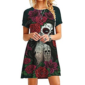 Halloween Women's Shift Dress Short Mini Dress - Short Sleeve Floral Skulls Print Casual Hot vacation dresses 2020 Purple Wine Green Rainbow Gray S M L XL XXL