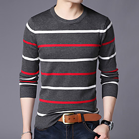 Men's Christmas Boho Glitter Knitted Braided Leopard Striped Color Block Pullover Long Sleeve Sweater Cardigans Crew Neck Spring Fall White Dark Gray Navy Blue