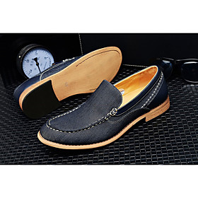 Men's Loafers  Slip-Ons Casual Daily Denim Height-increasing Blue Fall / Winter