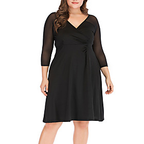 Women's A-Line Dress Knee Length Dress - 3/4 Length Sleeve Solid Color Ruched Mesh Patchwork Fall V Neck Plus Size Casual Slim 2020 Black XL XXL 3XL 4XL 5XL