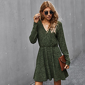 Women's A-Line Dress Knee Length Dress - Long Sleeve Solid Color Fall V Neck Casual Loose 2020 Red Army Green Navy Blue Gray S M L XL