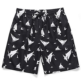 Men's Basic Holiday Shorts Pants Print Black  White Print Outdoor Black M L XL