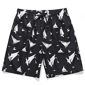 Men's Basic Holiday Shorts Pants Print Black  White Print Outdoor Black M L XL