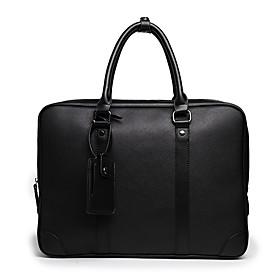 Men's Bags PU Leather Laptop Bag / Briefcase / Top Handle Bag Belt Zipper for Office  Career Black