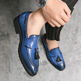 Men's Loafers  Slip-Ons Business / Casual Daily PU Wear Proof Black / Blue / Green Fall / Winter / Tassel / Tassel
