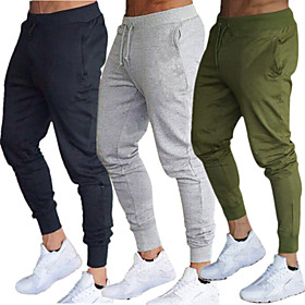 Men's Joggers Jogger Pants Track Pants Sweatpants Side Pockets Elastic Waistband Thermal / Warm Windproof Breathable Black Army Green Burgundy Cotton Fitness G