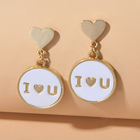 Women's Drop Earrings Geometrical Alphabet Shape Fashion Earrings Jewelry White For Engagement Festival