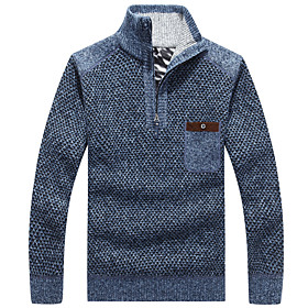 Men's Basic Knitted Solid Color Pullover Long Sleeve Sweater Cardigans Stand Collar Fall Blue Wine Light gray
