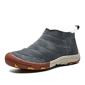 Men's Loafers  Slip-Ons Casual Daily Outdoor Walking Shoes Suede Warm Booties / Ankle Boots Dark Brown / Black / Khaki Winter